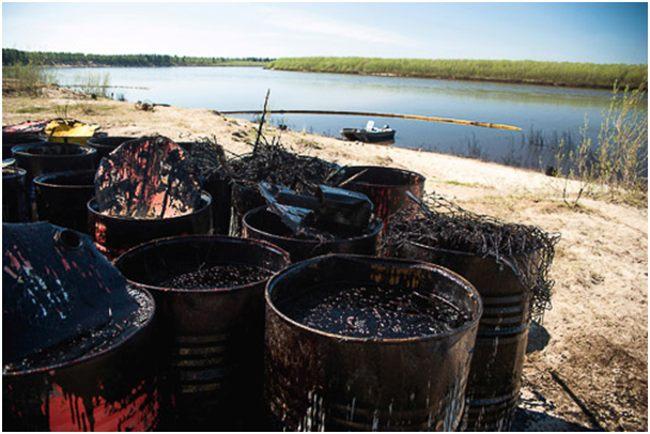 нефтешламы в бочках на берегу реки