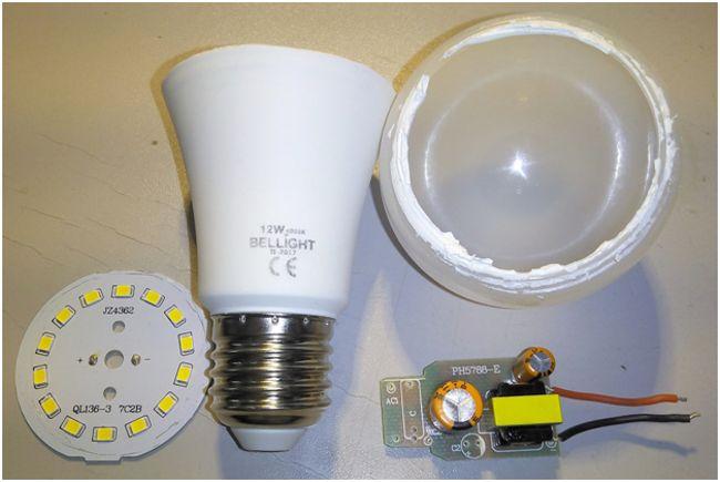 разобранная светодиодная лампа