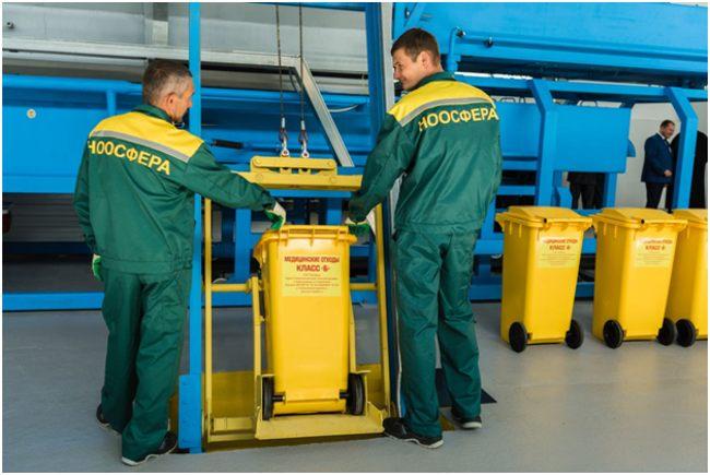 на заводе по утилизации мед отходов