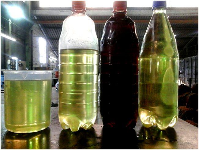 очищенное и отработанное масло