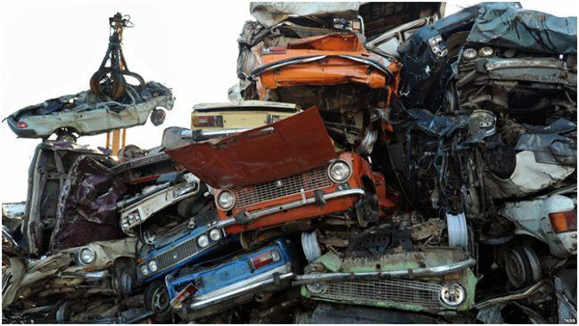 старые машины на утилизации