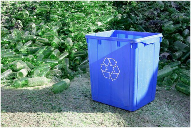 стеклянные бутылки и бак для рециклинга