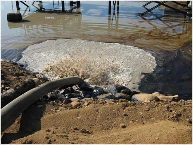 загрязнение водоема промышленными отходами