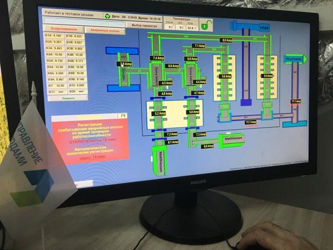 монитор со схемой управления отходами
