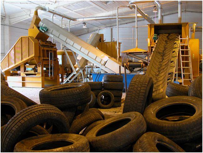 шины для переработки на заводе