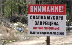 штраф за мусор 30 тыс.
