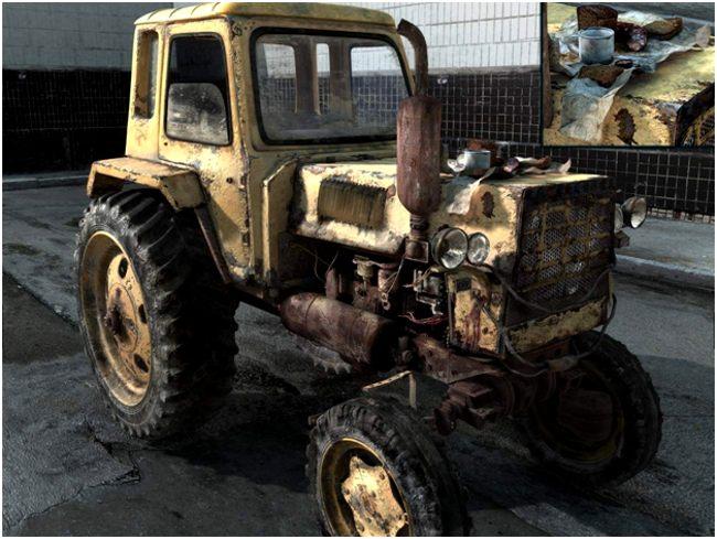 старый желтый трактор