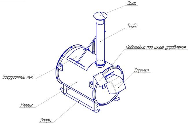 чертеж крематора
